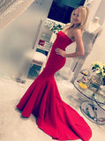 Mermaid Strapless Long Red Satin Prom Dress