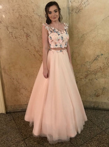Floral Two Piece Pink Tulle Prom Dress with Appliques