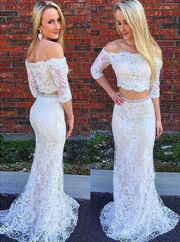 Two Piece Off-the-Shoulder 3/4 Sleeves Light Lace Prom Dress