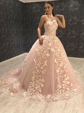 Floral Ball Gown Halter Pink Tulle Prom Dress