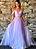 Pink Tulle Beading Two Piece Cold Shoulder Prom Dress