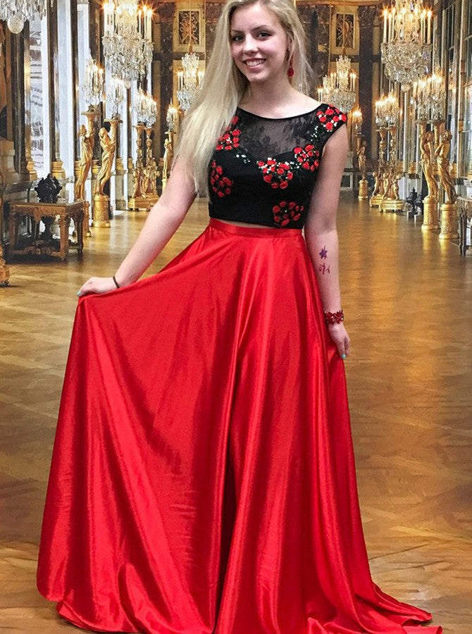 52759dcc082 Two Piece Floral Red Elastic Satin Lace Appliques Prom Dress ...