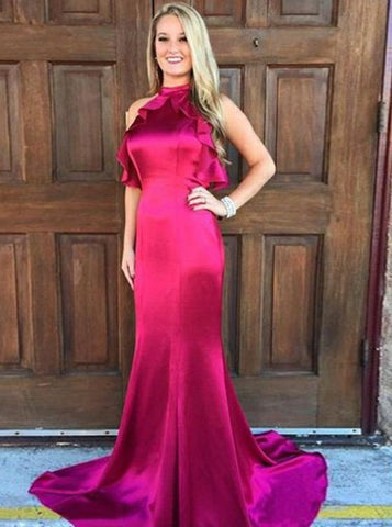 Ruffles Mermaid Jewel Open Back Fuchsia Elastic Satin Prom Dress