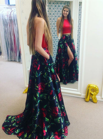 Two Piece Round Neck Red Floral Satin Split Print Prom Dress