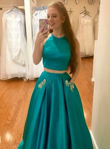 Beading Two Piece Long Turquoise Satin Prom Dress