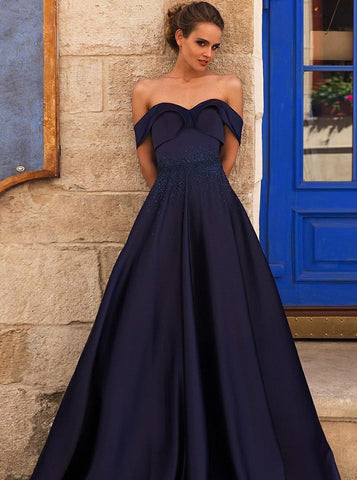 Beading Off-the-Shoulder Pleated Navy Blue Satin Prom Dress