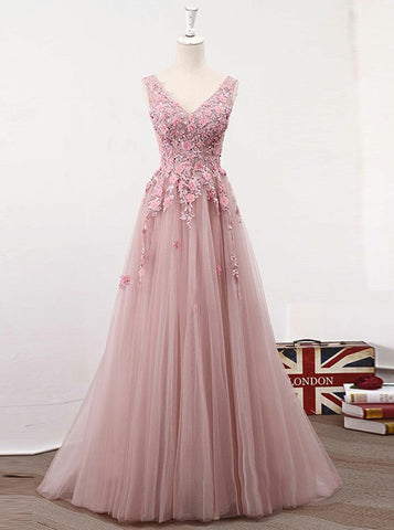 Appliques Beading V-Neck Pink Tulle Prom Dress