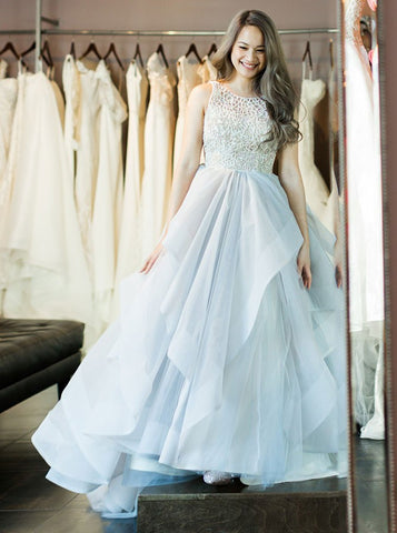 Light Blue Ball Gown Round Neck Tulle Prom Dress