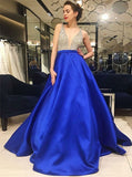 Royal Blue Satin V-Neck Low Cut Prom Dress with Beading