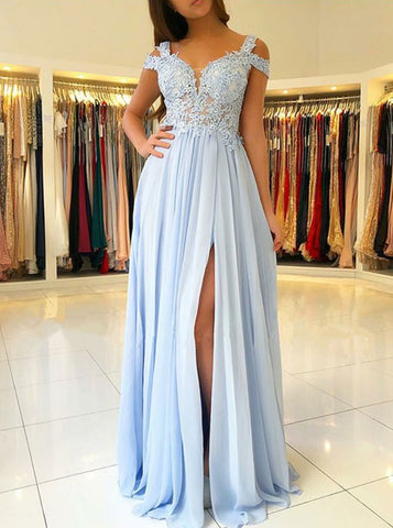 Appliques Cold Shoulder Light Blue Chiffon Prom Dress