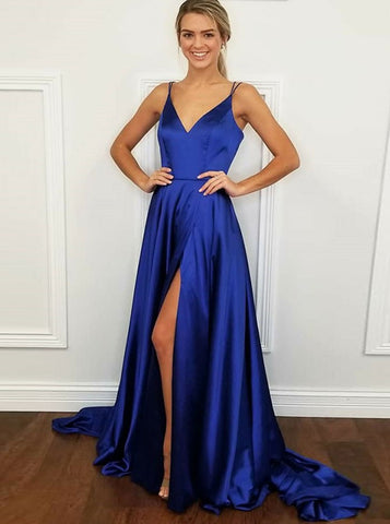Split V-Neck Blue Elastic Satin Prom Dress