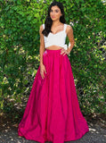 Bowknot Two Piece Scoop Fuchsia Long Satin Prom Dress