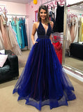 Beading Pockets Blue Organza A-Line V-Neck Low Cut Prom Dress