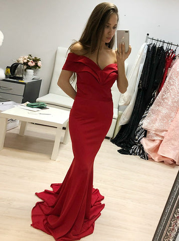 Mermaid Off-the-Shoulder Long Red Satin Prom Dress