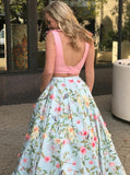Long Pink Two Piece V-Neck Floral Satin Prom Dress