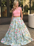 Long Pink Two Piece V-Neck Floral https://fancyprom.myshopify.com/admin/products/new#Satin Prom Dress