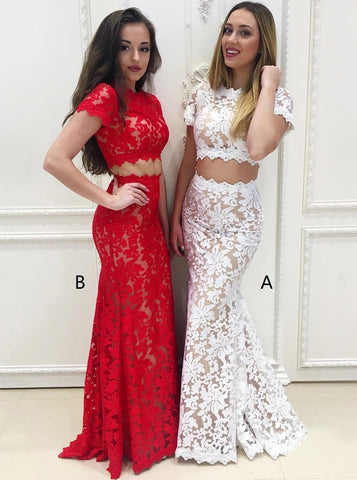 Short Sleeves White Lace Two Piece Mermaid Round Neck Prom Dress