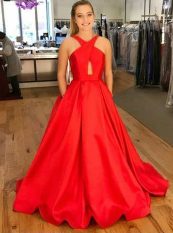 Red Satin A-Line Cross-Neck Prom Dress with Pockets