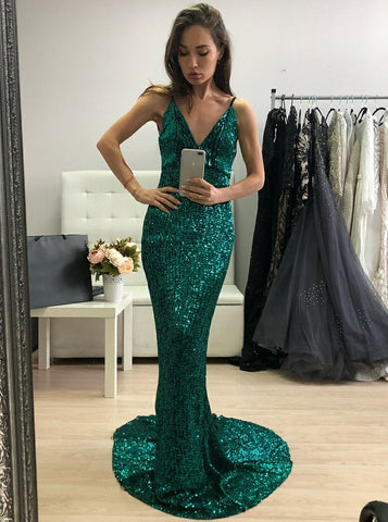 Sheath Spaghetti Straps Long Green Sequin Prom Dress