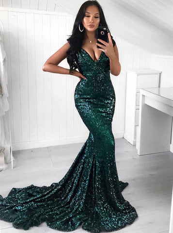 V-Neck Green Sequin Mermaid Long Prom Dress