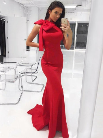 Bowknot Mermaid High Neck Red Satin Evening Prom Dress