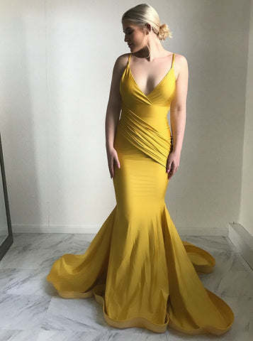 Mermaid Spaghetti Straps Ruched Yellow Satin Prom Dress