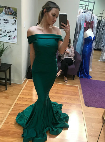 Mermaid Off-the-Shoulder Long Green Satin Prom Dress