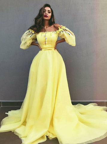Yellow Tulle A-Line Off-the-Shoulder Prom Dress with Appliques