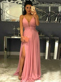 Split Spaghetti Straps Pink Chiffon Prom Dress