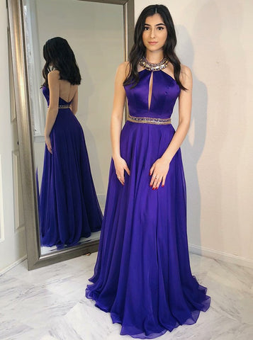 Halter Long Grape Chiffon Prom Dress with Beading
