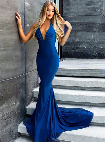 Long Royal Blue Mermaid V-Neck Satin Prom Party Dress