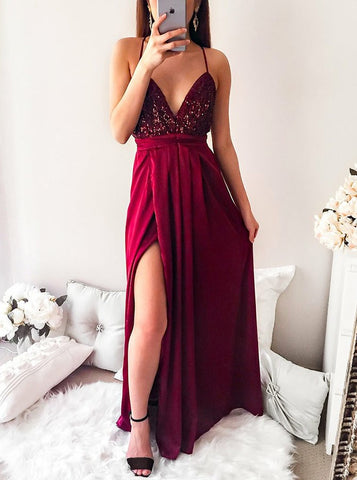 Dark Red Long Prom Spaghetti Straps Pleated Party Dress with Sequins