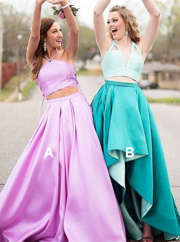 Pink Satin Two Piece Halter Pleated Prom Dress