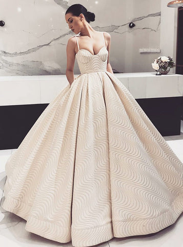 Light Champagne Ball Gown Spaghetti Straps Quinceanera Dress