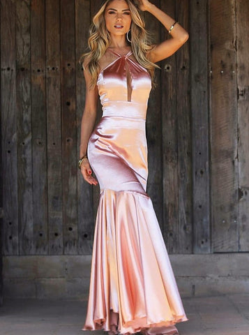 Mermaid Cross V-Neck Pink Keyhole Satin Prom Dress