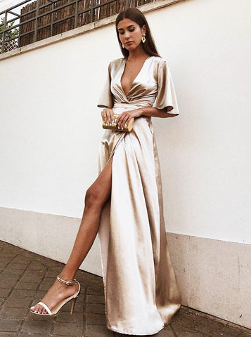 Satin Deep V-Neck Champagne Prom Dress with Split