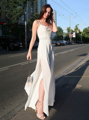 Sheath Spaghetti Straps White Chiffon Prom Party Dress