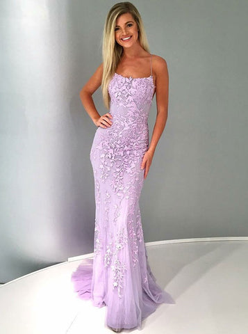 Backless Lilac Tulle Mermaid Spaghetti Straps Prom Evening Dress