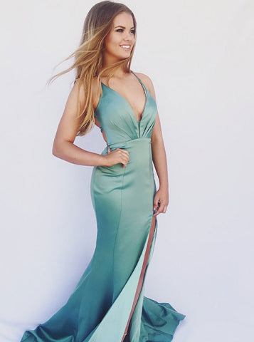 Turquoise Satin Mermaid V-Neck Lace-up Prom Evening Dress With Split