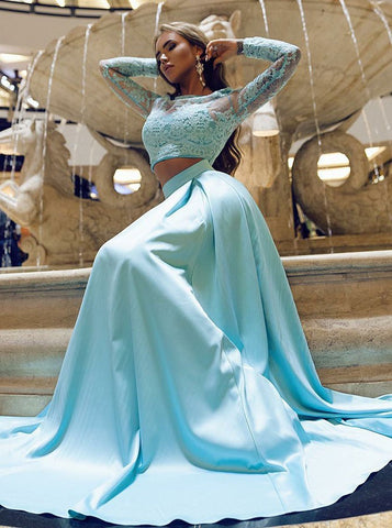 Appliques Ice Blue Prom Two Piece Long Sleeves Evening Dress