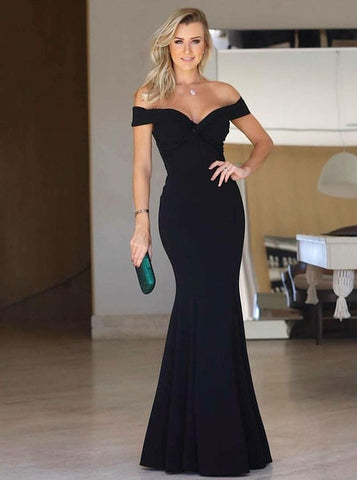 Long Black Satin Mermaid Off-the-Shoulder Prom Evening Dress