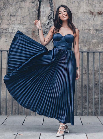 Pleated Navy Blue Satin A-Line Spaghetti Straps Prom Party Dress