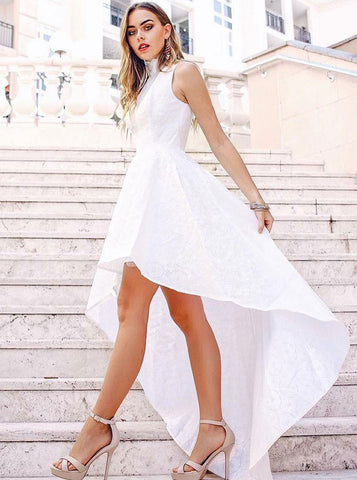Lovely White Lace A-Line High Neck High Low Prom Dress