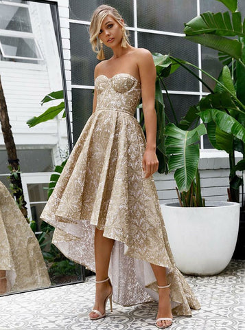 High Low Floral Gold A-Line Sweetheart Lace Prom Evening Dress