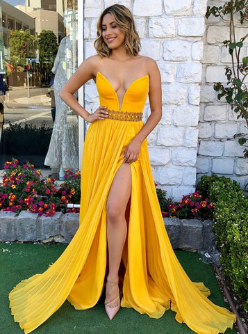 Yellow A-Line Sweetheart Pleated Chiffon Prom Dress with Beading Split