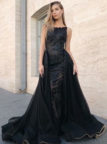Appliques Mermaid Black Chiffon Detachable Train Prom Dress