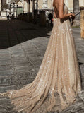 Plunging Sparkle Backless Gold Long Prom Evening Dress