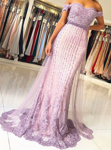 Beading Mermaid Off Shoulder Lavender Prom Dress
