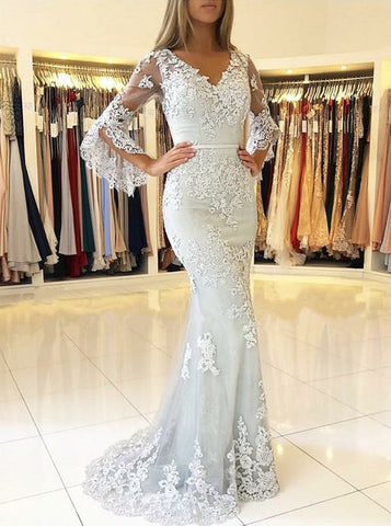 Mermaid V-neck Long Sleeve Lace Prom Evening Dress