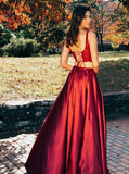 Split Criss Cross Back Two Pieces Burgundy Prom Dress